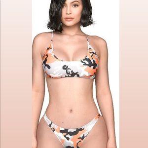 Kylie Jenner Orange Camo Bikini Set, M